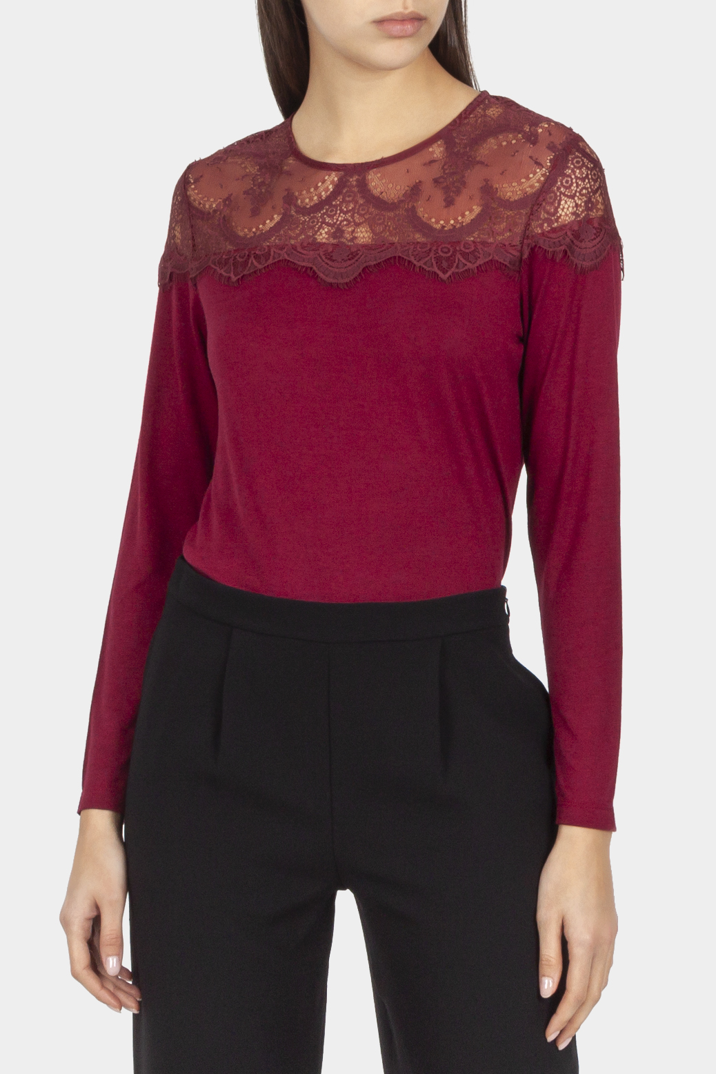Long sleeved t shirt with lace yoke
