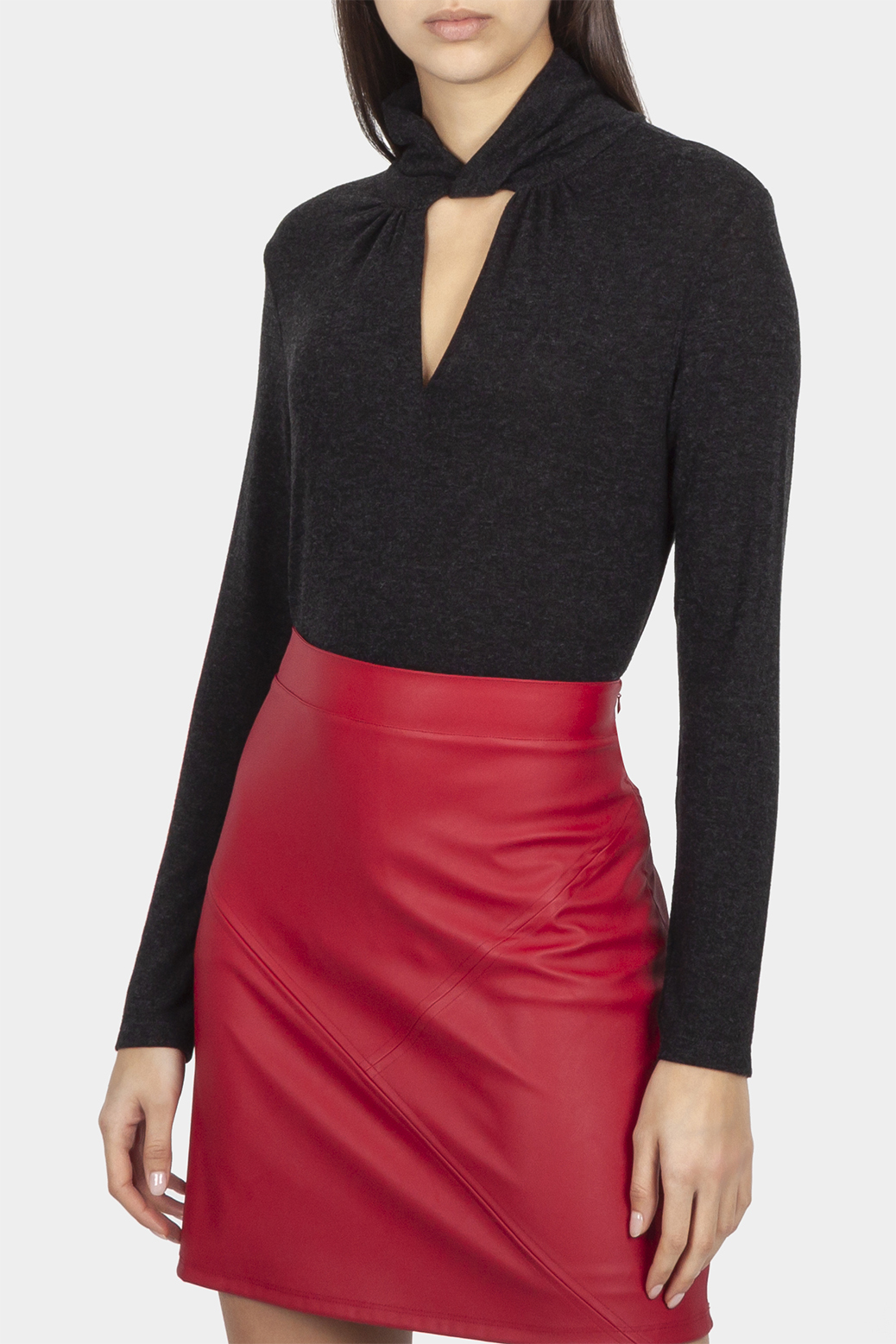 Long sleeve top with raised collar