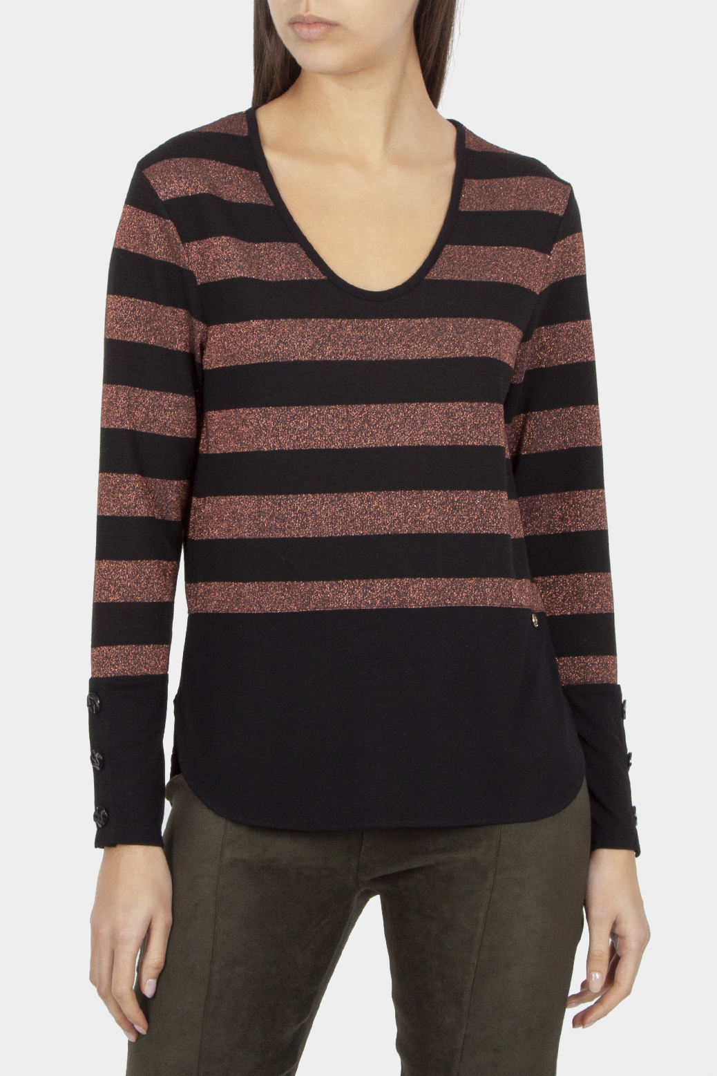 Long sleeved t sweater with lurex