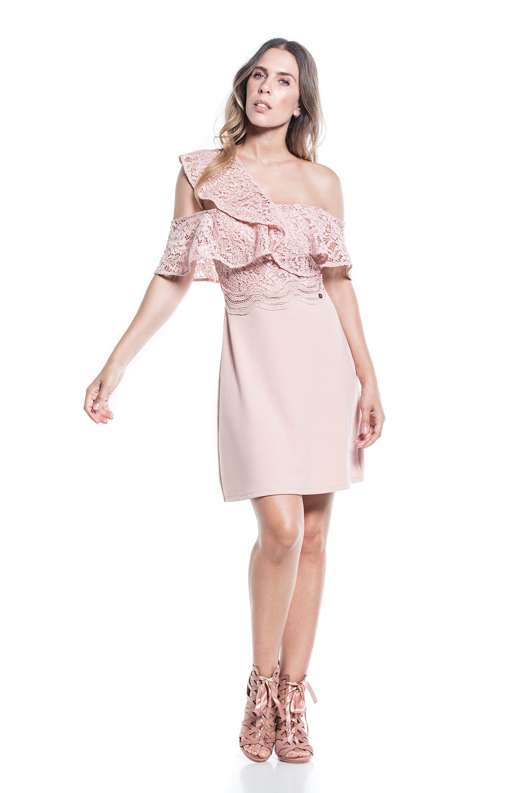 Structured dress with lace sleeves