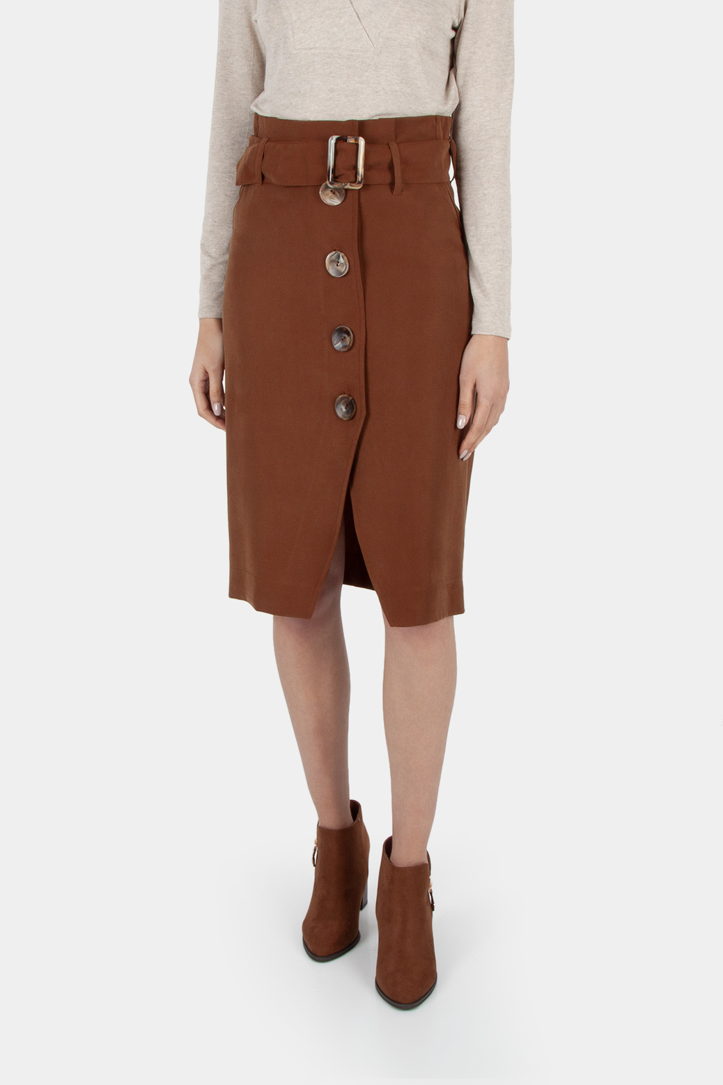 Knee-length utility skirt