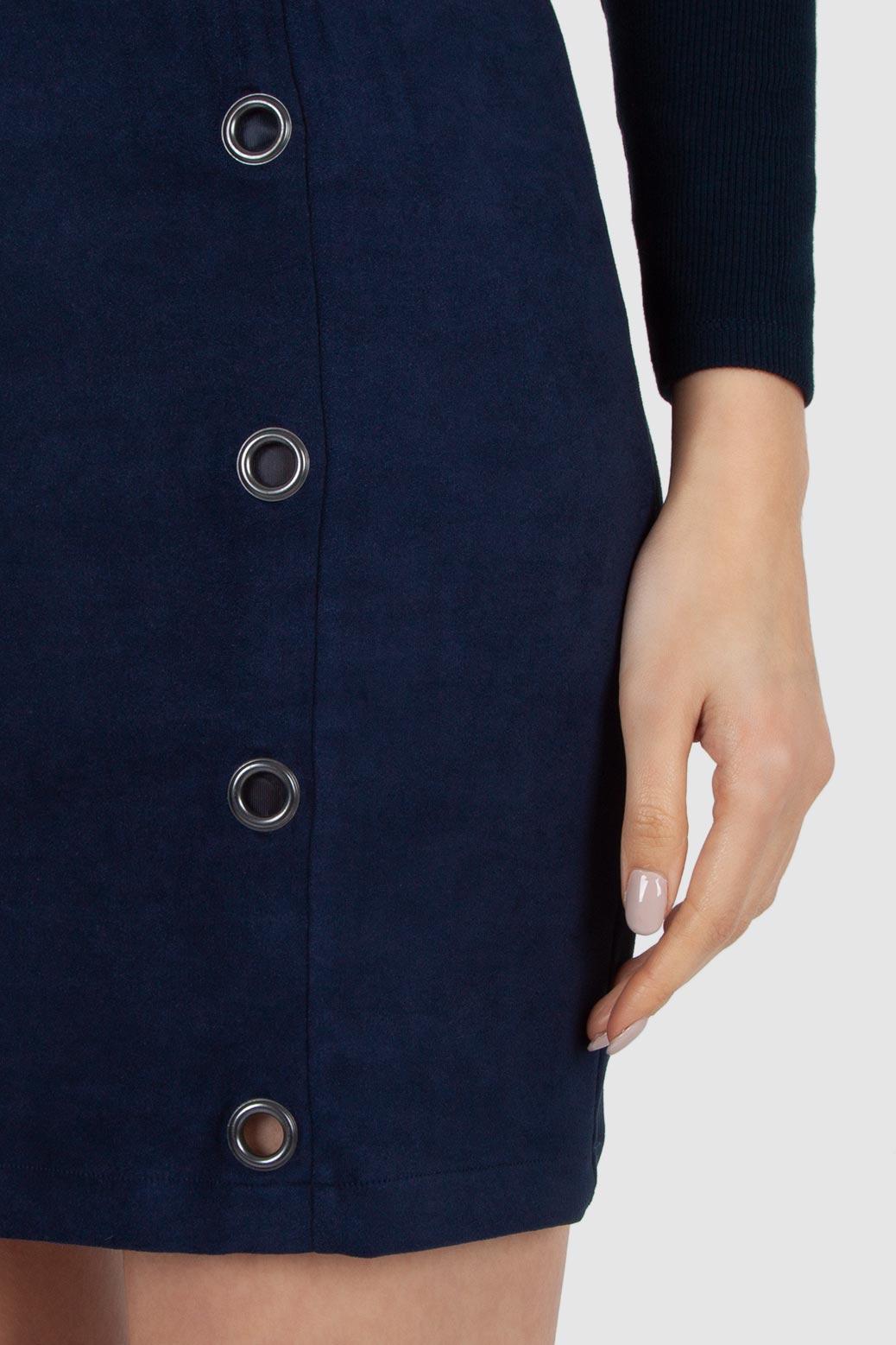Short imitation suede skirt