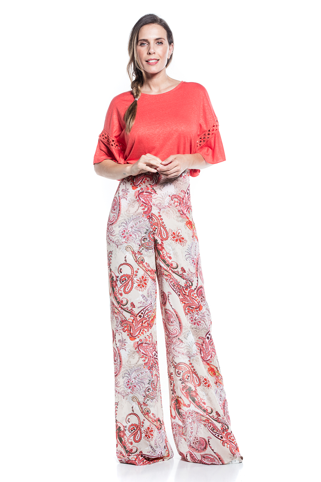 Printed long trousers