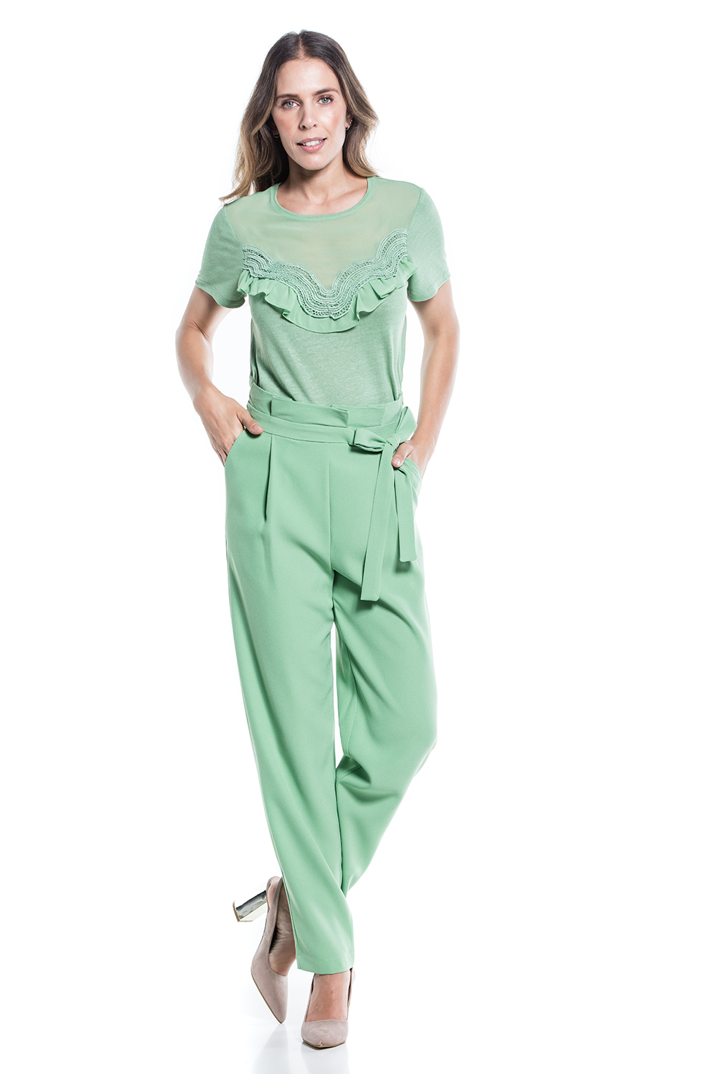 High-rise trousers with pleats and belt
