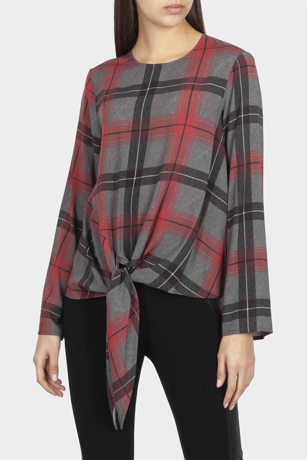 Tie-hem blouse in check
