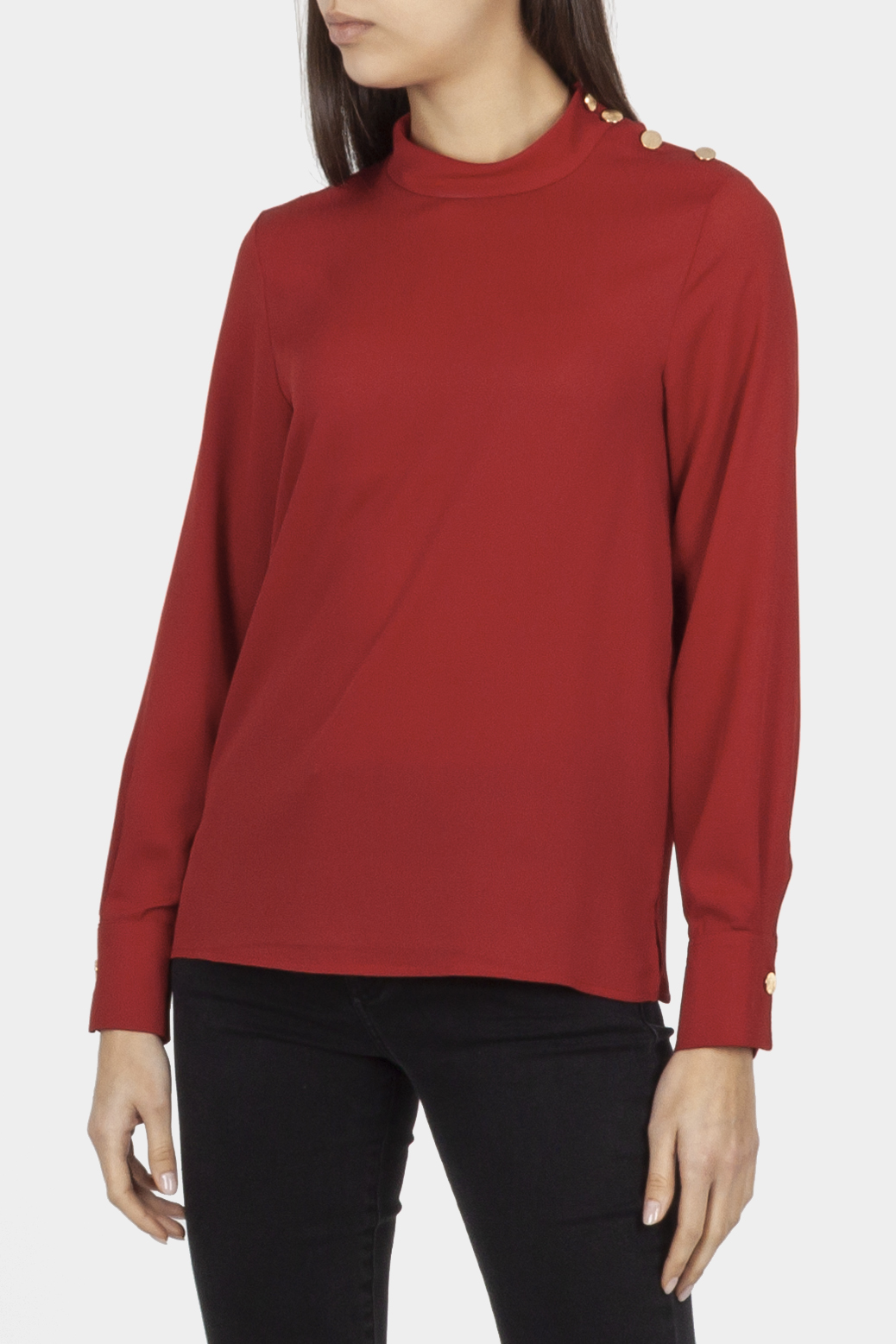 Blouse with a stand-up collar