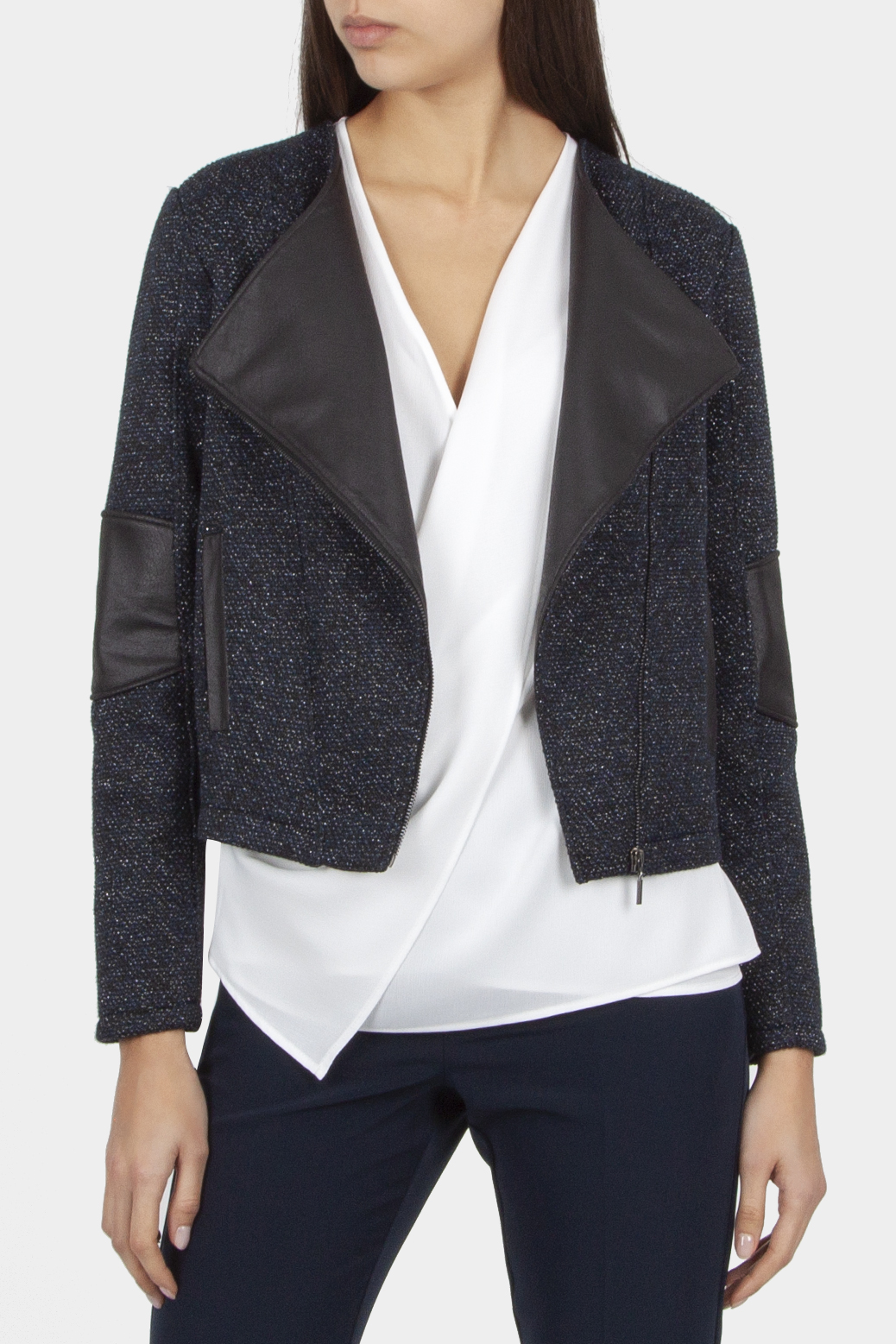 Textured jacket with faux fur
